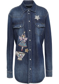 Dolce & Gabbana Woman Appliquéd Denim Shirt Mid Denim