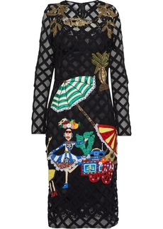 Dolce & Gabbana Woman Appliquéd Embroidered Tulle Dress Black
