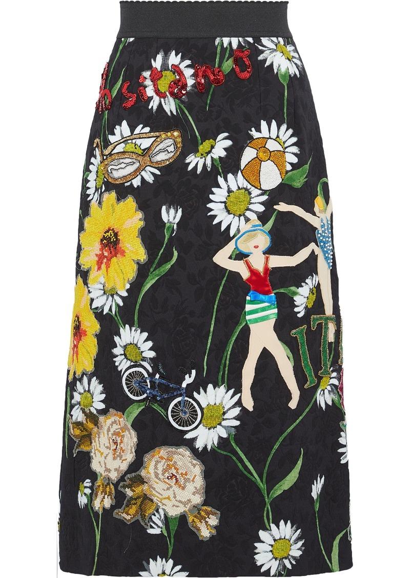 Dolce & Gabbana Woman Appliquéd Floral-print Jacquard Skirt Black