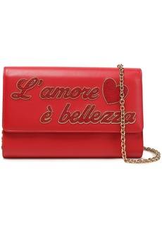 Dolce & Gabbana Woman Appliquéd Leather Clutch Red