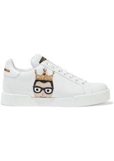 Dolce & Gabbana Woman Appliquéd Leather Sneakers White