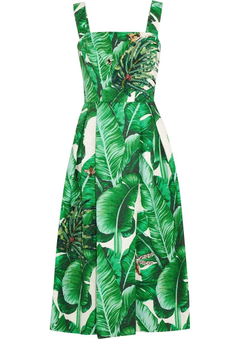 Dolce & Gabbana Woman Appliquéd Printed Cotton And Silk-blend Jacquard Midi Dress Green