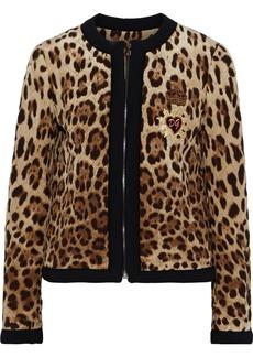 Dolce & Gabbana Woman Appliquéd Quilted Leopard-print Shell Jacket Animal Print