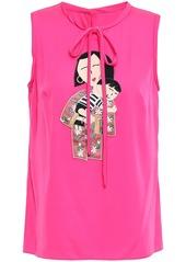 Dolce & Gabbana Woman Appliquéd Silk-blend Crepe De Chine Top Bright Pink