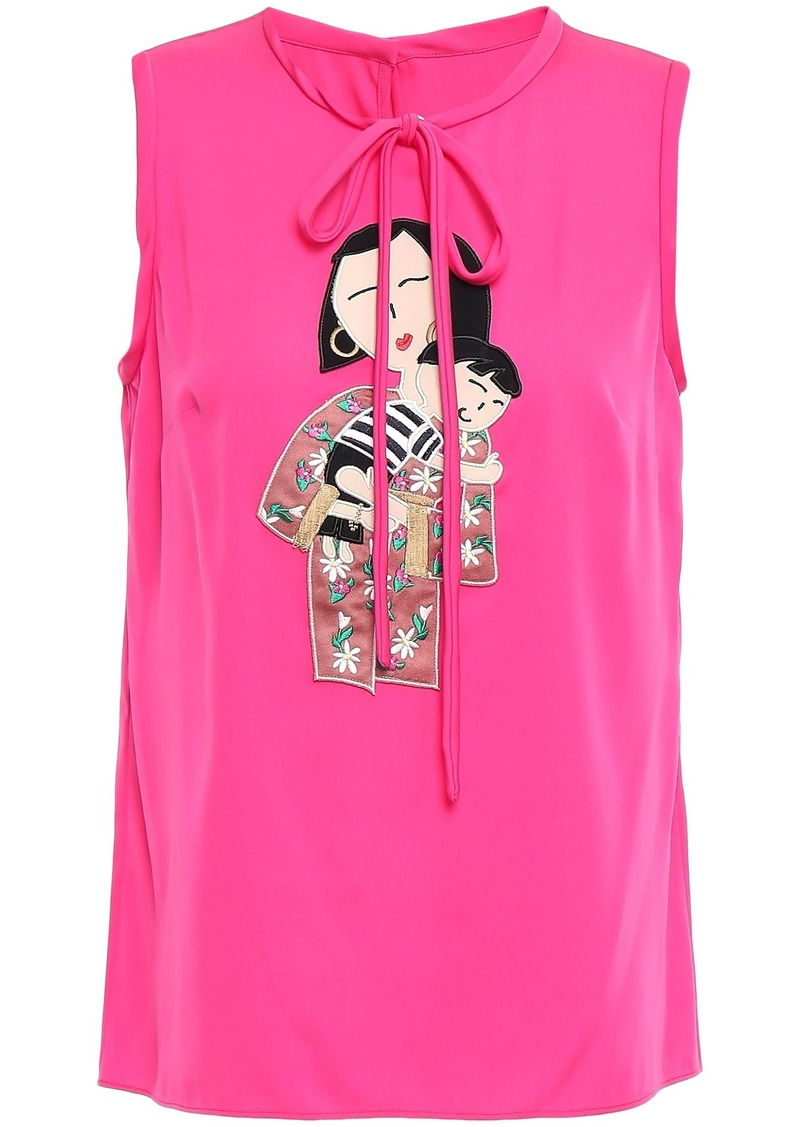 Dolce & Gabbana Woman Appliquéd Silk-blend Crepe De Chine Top Bright Pink