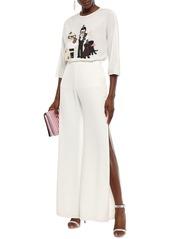 Dolce & Gabbana Woman Appliquéd Silk-blend Crepe De Chine Top Ivory