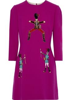 Dolce & Gabbana Woman Appliquéd Stretch Wool-crepe Mini Dress Magenta