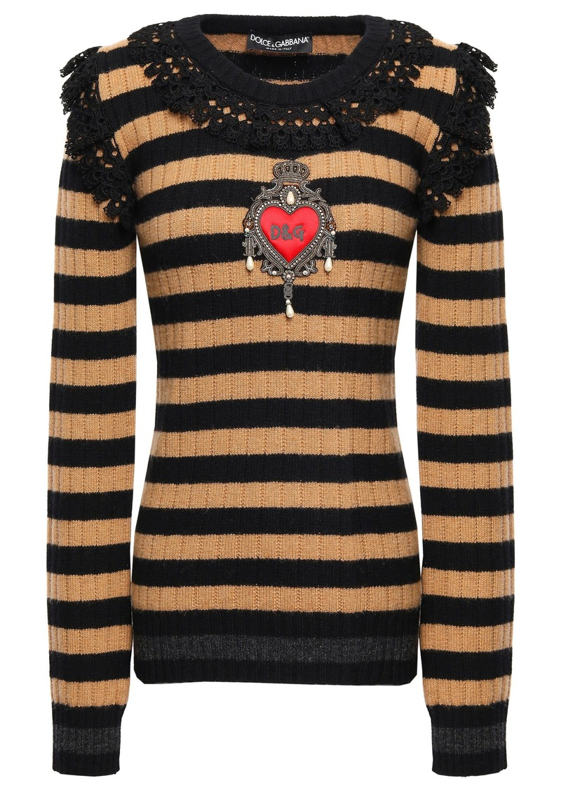 Dolce & Gabbana Woman Appliquéd Striped Wool And Cashmere-blend Sweater Light Brown
