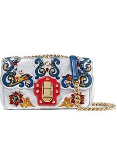 Dolce & Gabbana Woman Appliquéd Textured-leather Shoulder Bag Silver