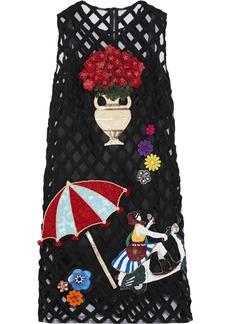 Dolce & Gabbana Woman Appliquéd Tulle Dress Black