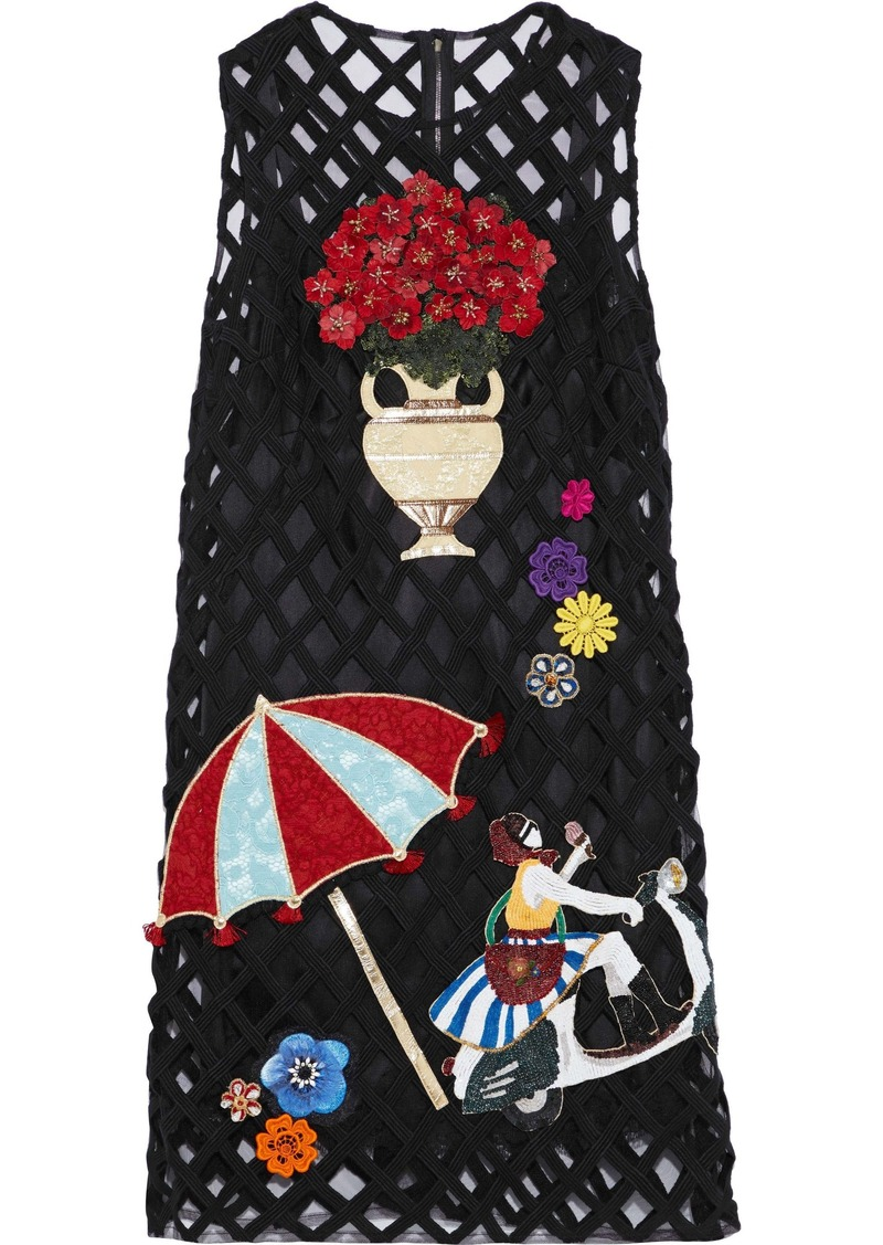 Dolce & Gabbana Woman Appliquéd Tulle Dress Black