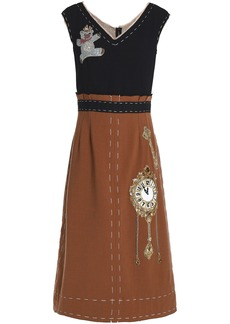 Dolce & Gabbana Woman Appliquéd Two-tone Wool-crepe Midi Dress Light Brown