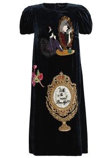 Dolce & Gabbana Woman Appliquéd Velvet Dress Midnight Blue