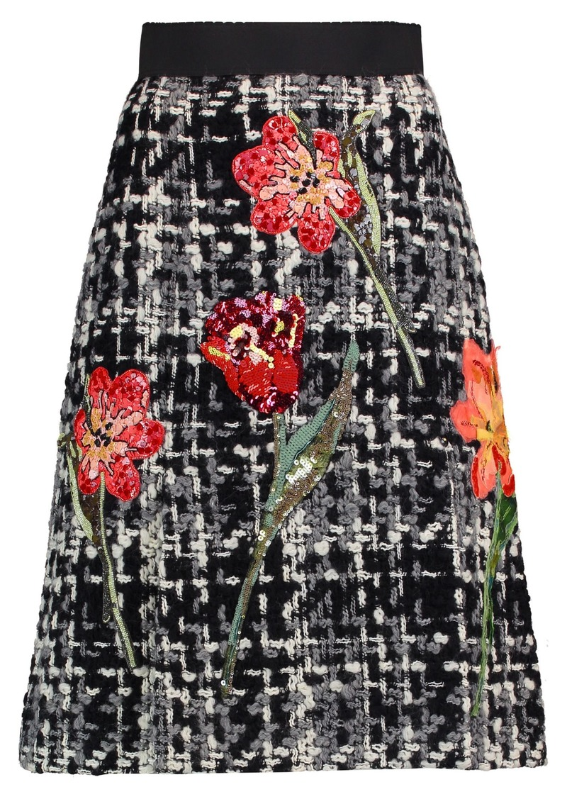 Dolce & Gabbana Woman Appliquéd Wool-blend Bouclé-tweed Skirt Black