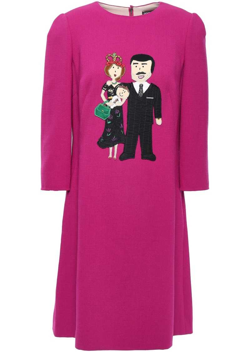 Dolce & Gabbana Woman Appliquéd Wool-blend Crepe Dress Magenta