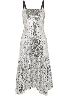 Dolce & Gabbana Woman Asymmetric Sequined Tulle Dress Silver