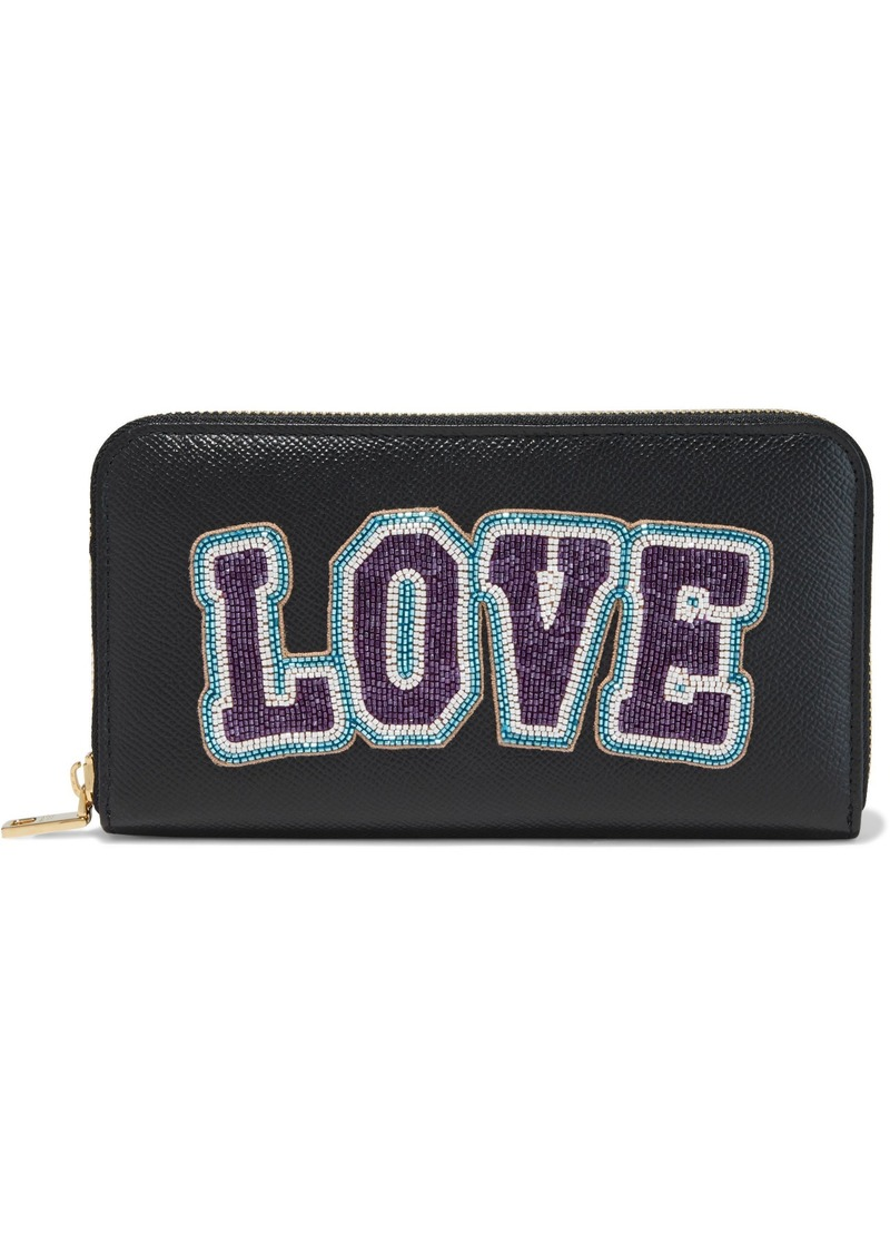 Dolce & Gabbana Woman Bead-embellished Textured-leather Wallet Black