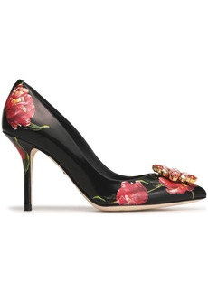 Dolce & Gabbana Woman Bellucci Crystal-embellished Floral-print Leather Pumps Black