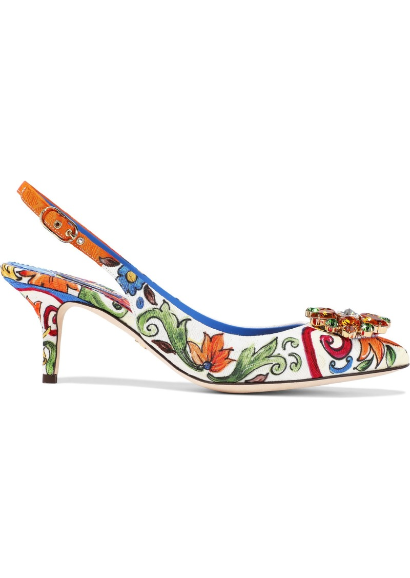 Dolce & Gabbana Woman Bellucci Crystal-embellished Printed Jacquard Slingback Pumps White