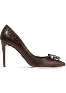 Dolce & Gabbana Woman Bellucci Embellished Lizard-effect Leather Pumps Chocolate