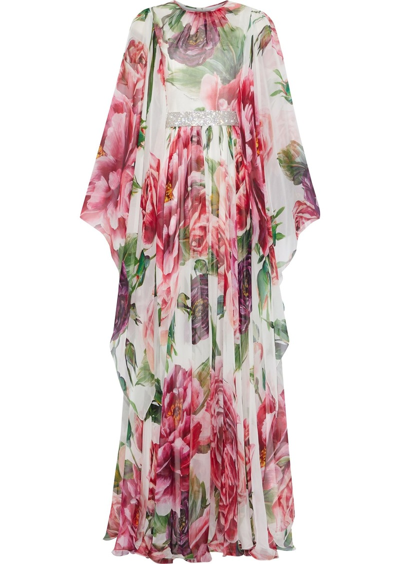 Dolce & Gabbana Woman Belted Floral-print Silk-blend Chiffon Gown Multicolor