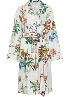Dolce & Gabbana Woman Belted Floral-print Silk-twill Kimono Off-white