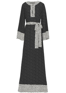 Dolce & Gabbana Woman Belted Polka-dot Silk Maxi Dress Black