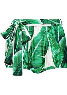 Dolce & Gabbana Woman Belted Printed Silk-faille Shorts Green