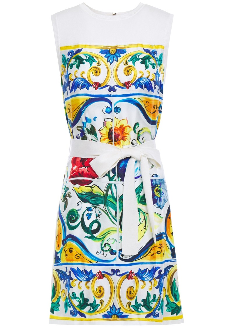 Dolce & Gabbana Woman Belted Printed Silk-twill And Knitted Mini Dress Ivory