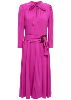 Dolce & Gabbana Woman Belted Pussy-bow Crepe Dress Magenta