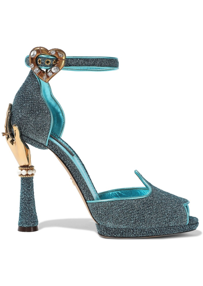 Dolce & Gabbana Woman Bette Embellished Glittered Metallic Leather Sandals Turquoise