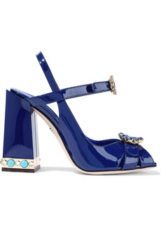 Dolce & Gabbana Woman Bette Embellished Patent-leather Sandals Blue