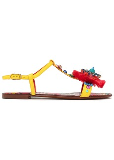 Dolce & Gabbana Woman Bianca Carret Embellished Lizard-effect Leather Slingback Sandals Yellow
