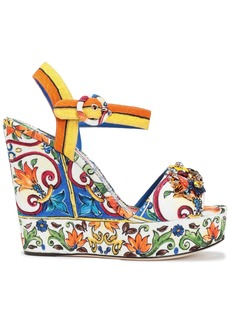 Dolce & Gabbana Woman Bianca Crystal-embellished Printed Jacquard Wedge Sandals Multicolor