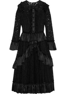 Dolce & Gabbana Woman Bow-embellished Ruffled Corded Lace Dress Black