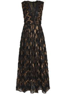 Dolce & Gabbana Woman Brocade-paneled Metallic Fil Coupé Silk-blend Midi Dress Black