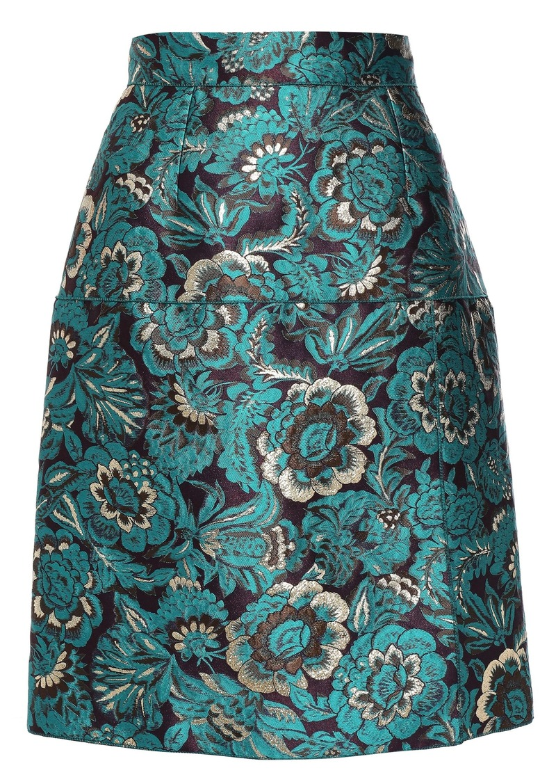 Dolce & Gabbana Woman Brocade Skirt Teal