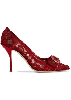 Dolce & Gabbana Woman Buckle-embellished Corded Lace Pumps Crimson
