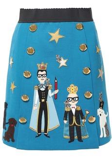Dolce & Gabbana Woman Button-embellished Appliquéd Wool-blend Mini Skirt Blue
