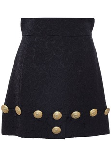 Dolce & Gabbana Woman Button-embellished Jacquard Mini Skirt Midnight Blue