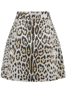 Dolce & Gabbana Woman Button-embellished Metallic Leopard-jacquard Mini Skirt Animal Print