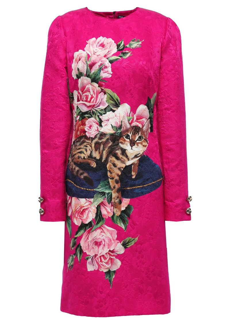 Dolce & Gabbana Woman Button-embellished Printed Cotton And Silk-blend Jacquard Dress Fuchsia