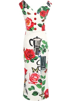 Dolce & Gabbana Woman Button-embellished Printed Cotton-blend Twill Midi Dress Ivory