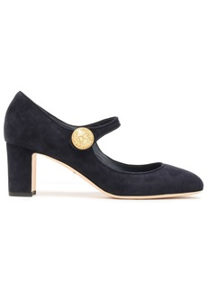 Dolce & Gabbana Woman Button-embellished Suede Mary Jane Pumps Midnight Blue