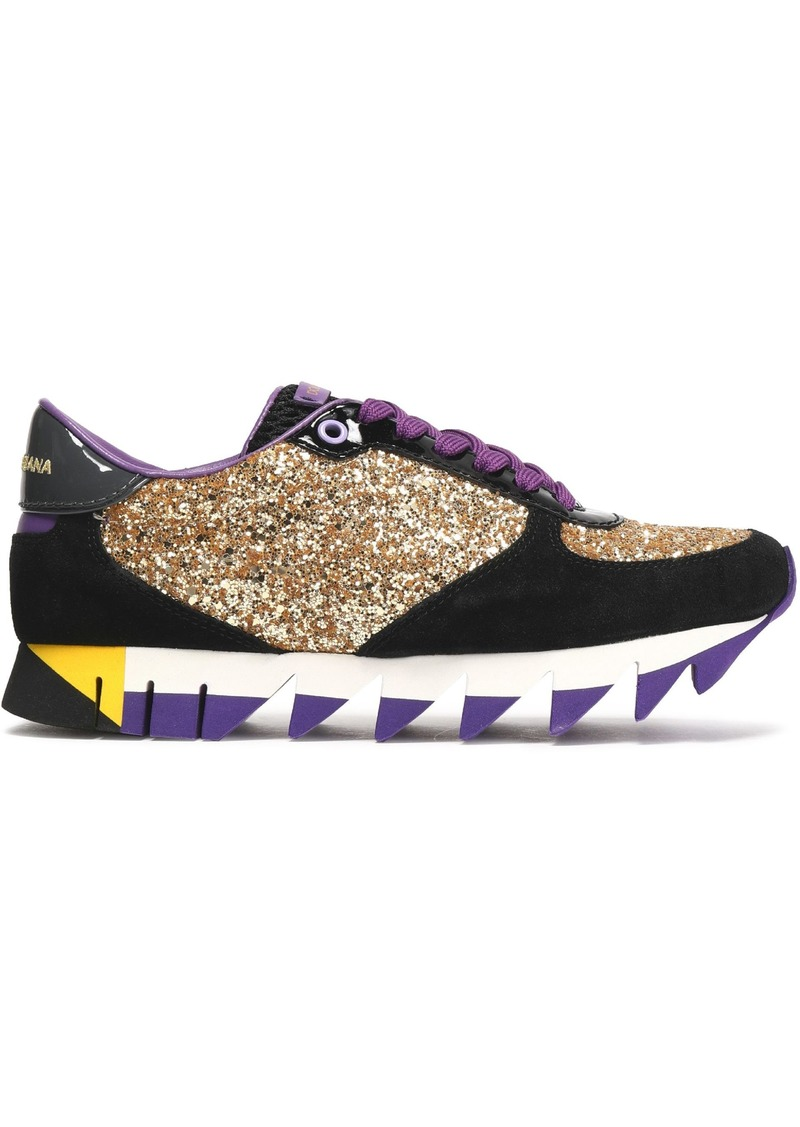 Dolce & Gabbana Woman Capri Glittered Suede Mesh And Patent-leather Sneakers Gold