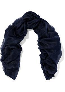 Dolce & Gabbana Woman Cashmere And Silk-blend Gauze Scarf Midnight Blue