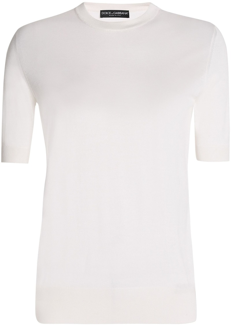 Dolce & Gabbana Woman Cashmere And Silk-blend Top Ivory