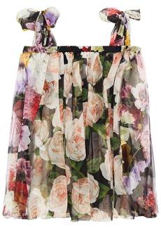 Dolce & Gabbana Woman Cold-shoulder Pleated Floral-print Silk-chiffon Blouse Black