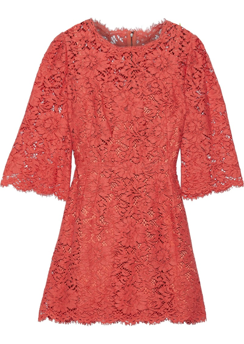 Dolce & Gabbana Woman Corded Lace Mini Dress Tomato Red