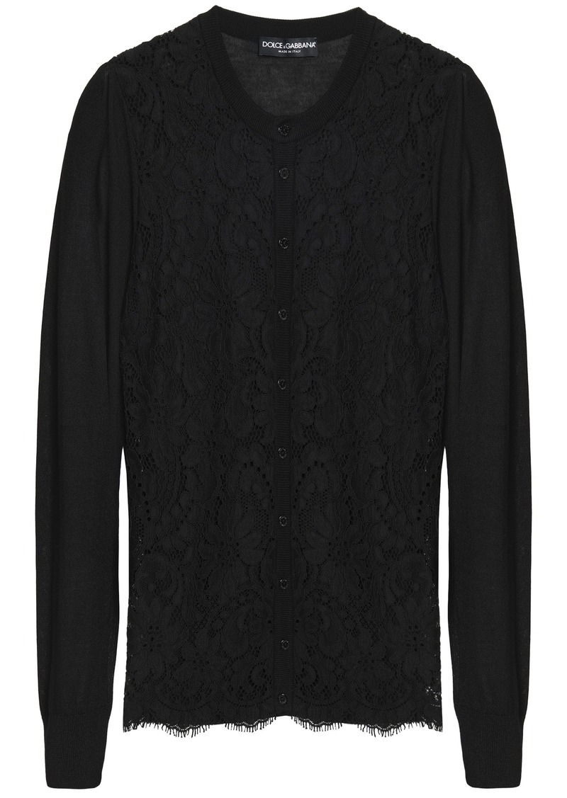 Dolce & Gabbana Woman Corded Lace-paneled Silk-blend Cardigan Black